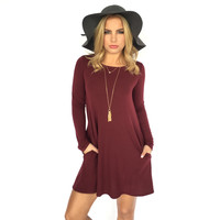 My Comforter Shift Dress In Burgundy