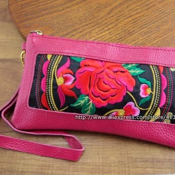 Vintage Hmong Thai Ethnic Genuine Leather Wallet purse Hobo Hippie Ethnic handbag with embroidery SYS-244