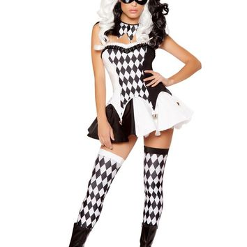 Roma Costume 4 Piece Devious Jester Costume Black/White - Small
