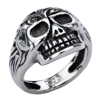 Inox 316L Steel Black Oxidized Mayan Inspired Skull Biker Ring