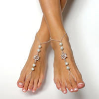 Nautical Beach Chained Barefoot Sandals