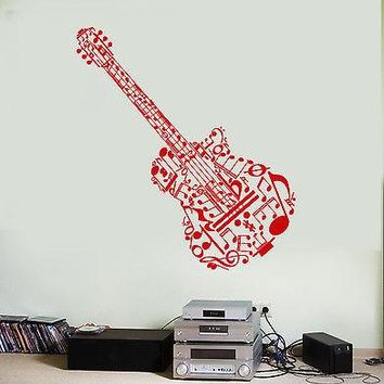 Wall Vinyl Music Guitar Made Of Notes Guaranteed Quality Decal Unique Gift (z3531)