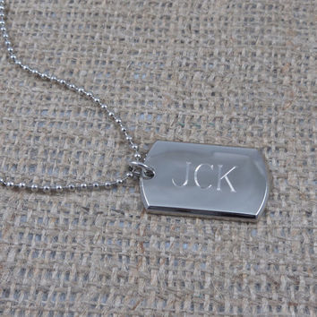Dog Tag Nickel Plated Personalized - Engraved - Monogrammed (416)