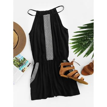 Embroidered Tape Detail Romper