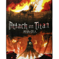 Attack On Titan Fire Plush Throw