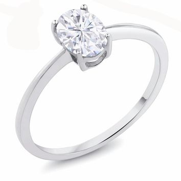 0.84 Ct Oval White Created Moissanite 10K White Gold Ring