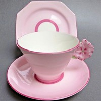 PINK STAR Paragon Art Deco 1930 TIERED CUP SAUCER FLOWER HANDLE & SQ. PLATE G443