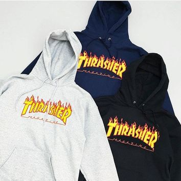 Fashion Men's hoodie sweater Hip-hop skateboard Flame Thrasher Women Sweatshirts