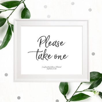 Please take one Stylish Hand Lettered Printable Sign-Calligraphy Favors Sign-DIY Handwritten Style Wedding Reception Fans-Cupcake-Cigars-DIY