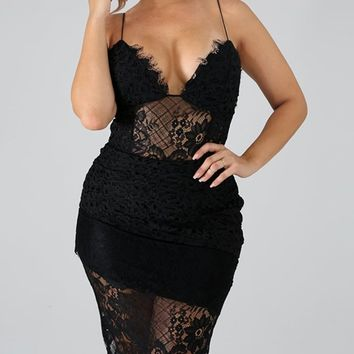 Change Partners Black Sheer Lace Sleeveless Spaghetti Strap V Neck Bodycon Mini Dress