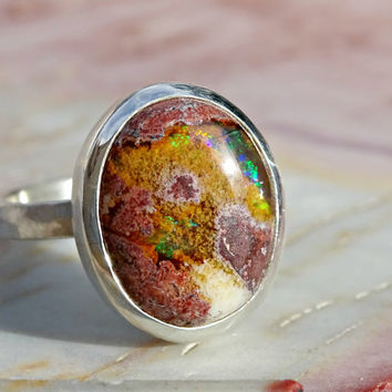 raw fire opal ring, unique opal engagement ring, cantera opal ring silver, matrix opal ring silver, mexican fire opal ring, oval opal ring