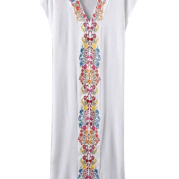 White V-neck Embroidered Side Split Maxi Smock Dress