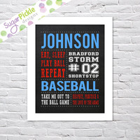 Personalized Baseball art, Baseball Print, Team Gift, Personalized Baseball Subway Art, Baseball Stats Art, Baseball Wall Art, Baseball