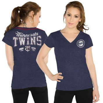 Touch by Alyssa Milano Minnesota Twins Women's Outfield Slim Fit T-Shirt - Navy Blue