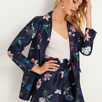 Floral Print Single Breasted Blazer & Shorts Set
