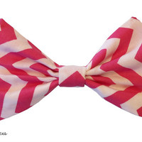 Hot Pink and White Chevron Hair Bow by craftsbyfrances on Etsy