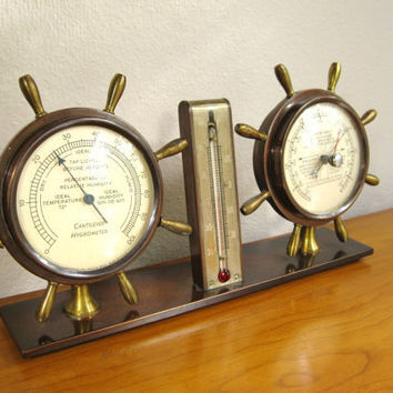 Vintage Swift & Anderson Brass Nautical Thermometer, Hygrometer and Barometer Instrument