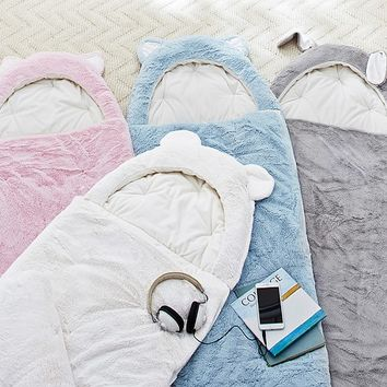 Fur Animal Hood Sleeping Bag | Pottery Barn Kids