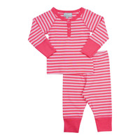 Coccoli Baby Girls' Stripe Henley Pajama