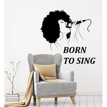Vinyl Wall Decal Singer Quote Music Karaoke MIC Singing Sexy African Woman Stickers Mural (ig6138)