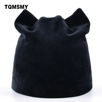 TQMSMY Russian Style Beanie With Cat Ear Flaps