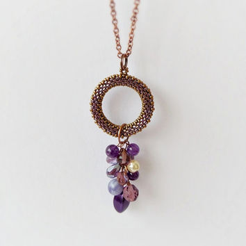 Amethyst necklace, purple long necklace, boho necklace, bead cluster necklace, geometric necklace, circle pendant, fashion jewelry