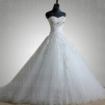 Royal New Customerized Ball Gown Appliques Sweetheart Ivory/White Lace Sweep Train Wedding Dress Bridal Gown 2013