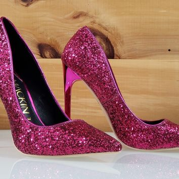 "Mac J Fuchsia Pink Glitter Pointy Toe Pump - 4.75"" High Heel Shoes"