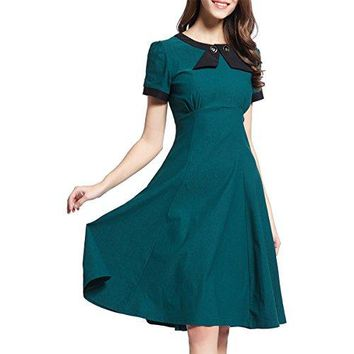 Shengdilu Womens 1950s Vintage Bow Tie Retro Swing Skaters Party Dress