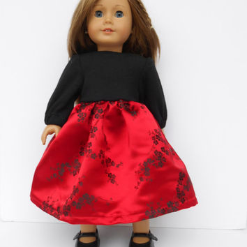 American Girl Doll Clothes, Christmas Dress, Holiday Dress, Black and Red Brocade, Party Dress, Winter Doll Clothes, Fits 18 Inch Dolls