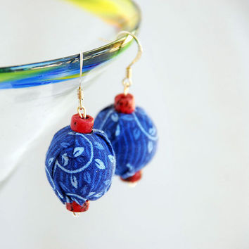 Dangle Earrings in Upcycled Cotton Fabric in Parisian Blue and Ruby Red