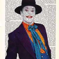 Wall Art The Joker Jack Nicholson Movie Art Poster-Dictionary Print Page Art-Gift Print On Dictionary Book Page- Home Decor Batman Wall Art