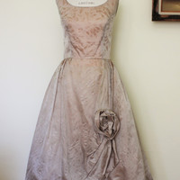 Vintage 1960s Jeannette Alexander Party Dress, Taupe