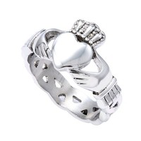 Stainless Steel 9mm High Polish Heart with Hands Claddagh Design Fashion Ring for Men
