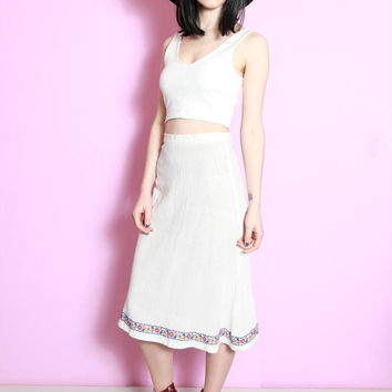 Vintage 1970s White Hippy Festival Cheesecloth Skirt