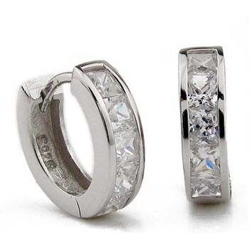 Fashion Accessory Simple Design Men's Silver Plated Small Round Square Crystal Hoop Huggie Earrings