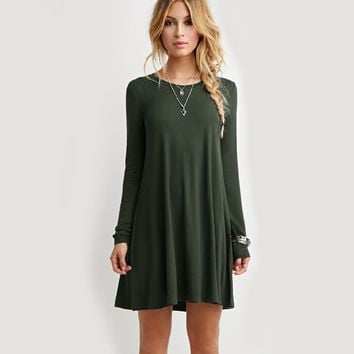 Casual Long Sleeve Green Dress
