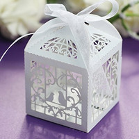 50 Pcs Sets White Love Birds Laser Cut Favor Candy Box with Ribbons Bridal Shower Wedding Party Favors Decor (Color: White) = 1932188676