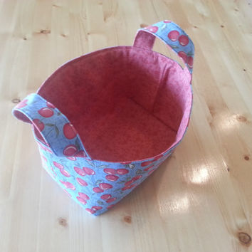 Medium Fabric Storage Bin Basket- Happy Cherries
