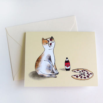 Pizza Cat Any Occasion Greeting Card