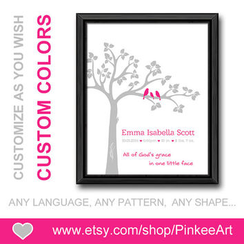 baptism birth announcement christian new baby decor all of gods grace nursery birth print new mom gift birth date print pink baby stats art