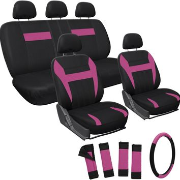 pink 17pc set faux leather seat covers set Case of 10