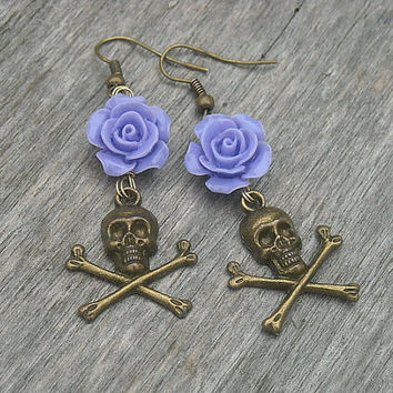 Skull & Crossbones Earrings with Purple Roses by InkandRoses13