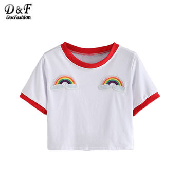 Women Crop Tops Summer Style Casual New Arrival Woman Tees Short Sleeve Contrast Trimmed Rainbow Patch T-shirt