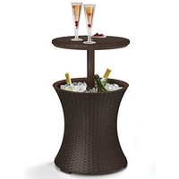 Outdoor Table Cooler Bar Rattan Style Patio Pool Cool Brown Gal Party  Cocktail