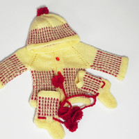 Soft Hand Knitted Baby Suit in Red and Yellow 0 to 3 mon