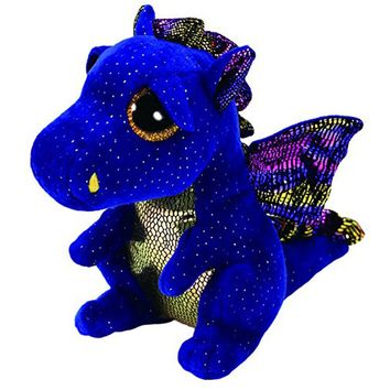 "Pyoopeo Ty Beanie Boos 10"" 25cm Saffire the Dragon Plush Medium Soft Big-eyed Stuffed Animal Collection Doll Toy"