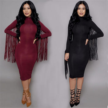 Women Casual Dress  New Party Dresses Celeb Midi Sexy Club Dress Suede Long Sleeve Tassel Bodycon Bandage Dress Clubwear