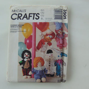McCall's Crafts 3501 Clownin' Around 6 stuffed dolls to make Sewing Pattern UNCUT