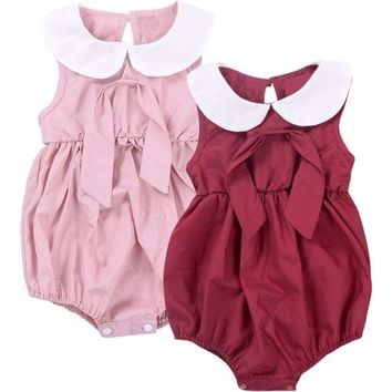 Cute Baby Girls Bowknot Princess Outfits Rompers Bodysuit Kids Jumpsuit Sunsuit